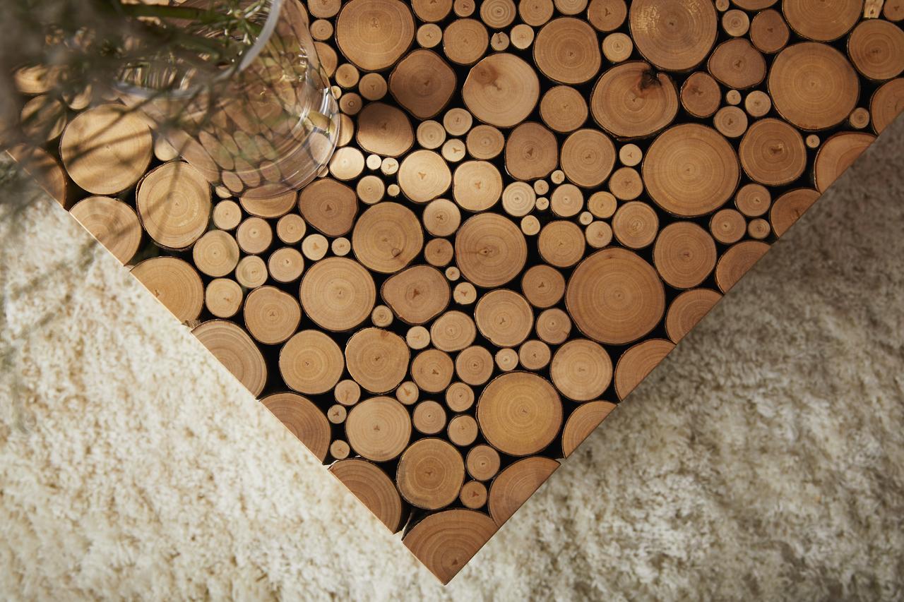 Alder Cube Detail contrasted with shag carpet