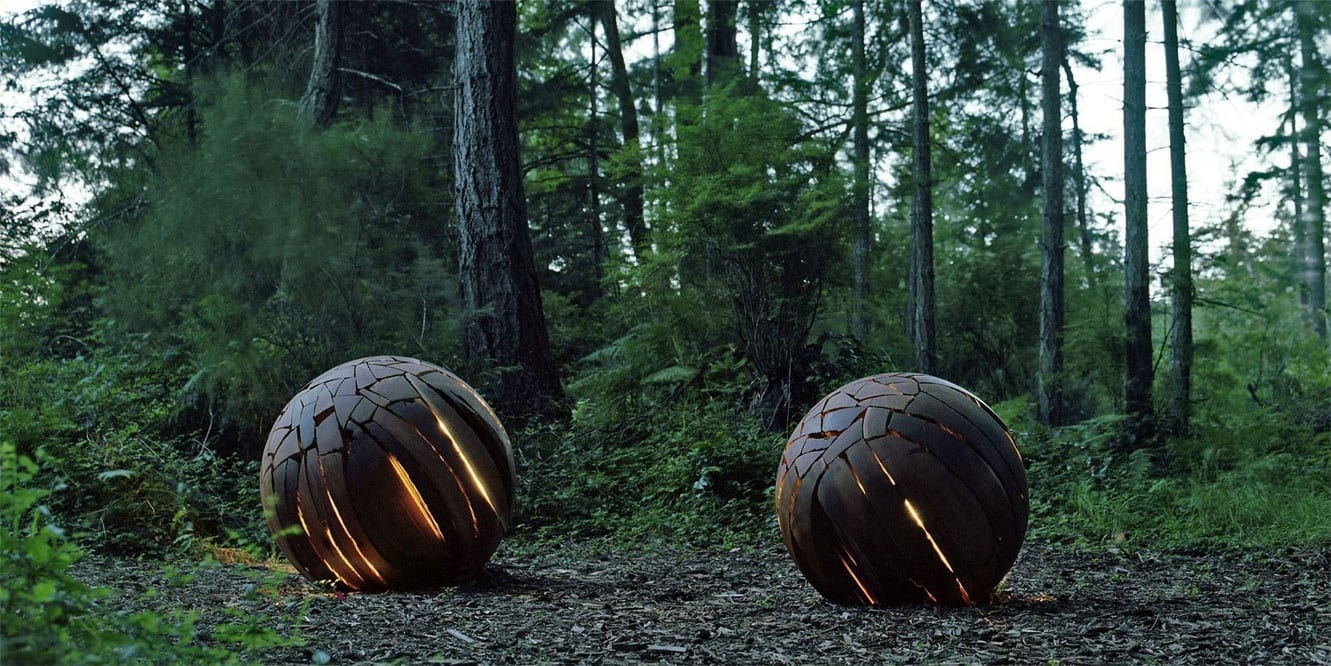 Illuminated Shattered Spheres in outdoors