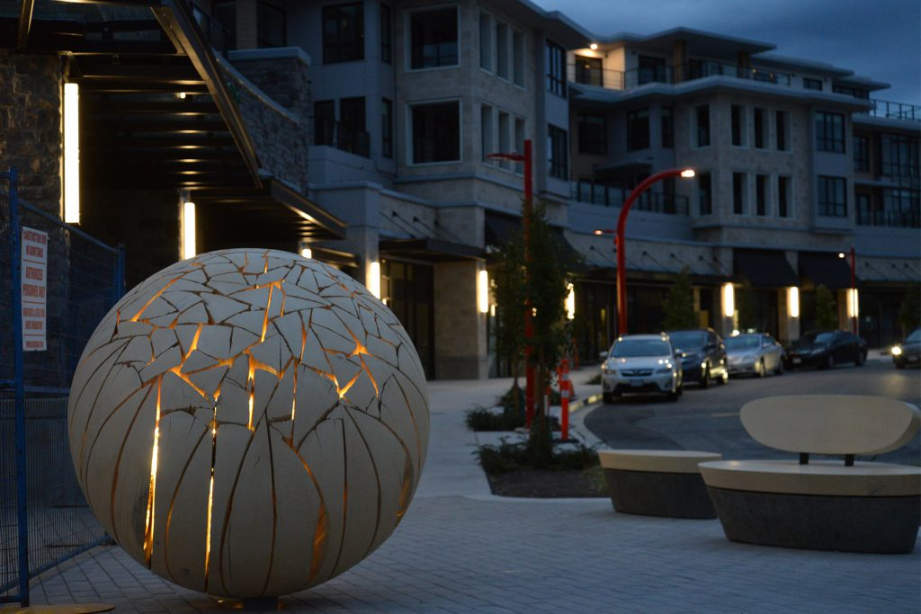 Grosvenor Edgemont Illuminated Shattered Sphere - at night