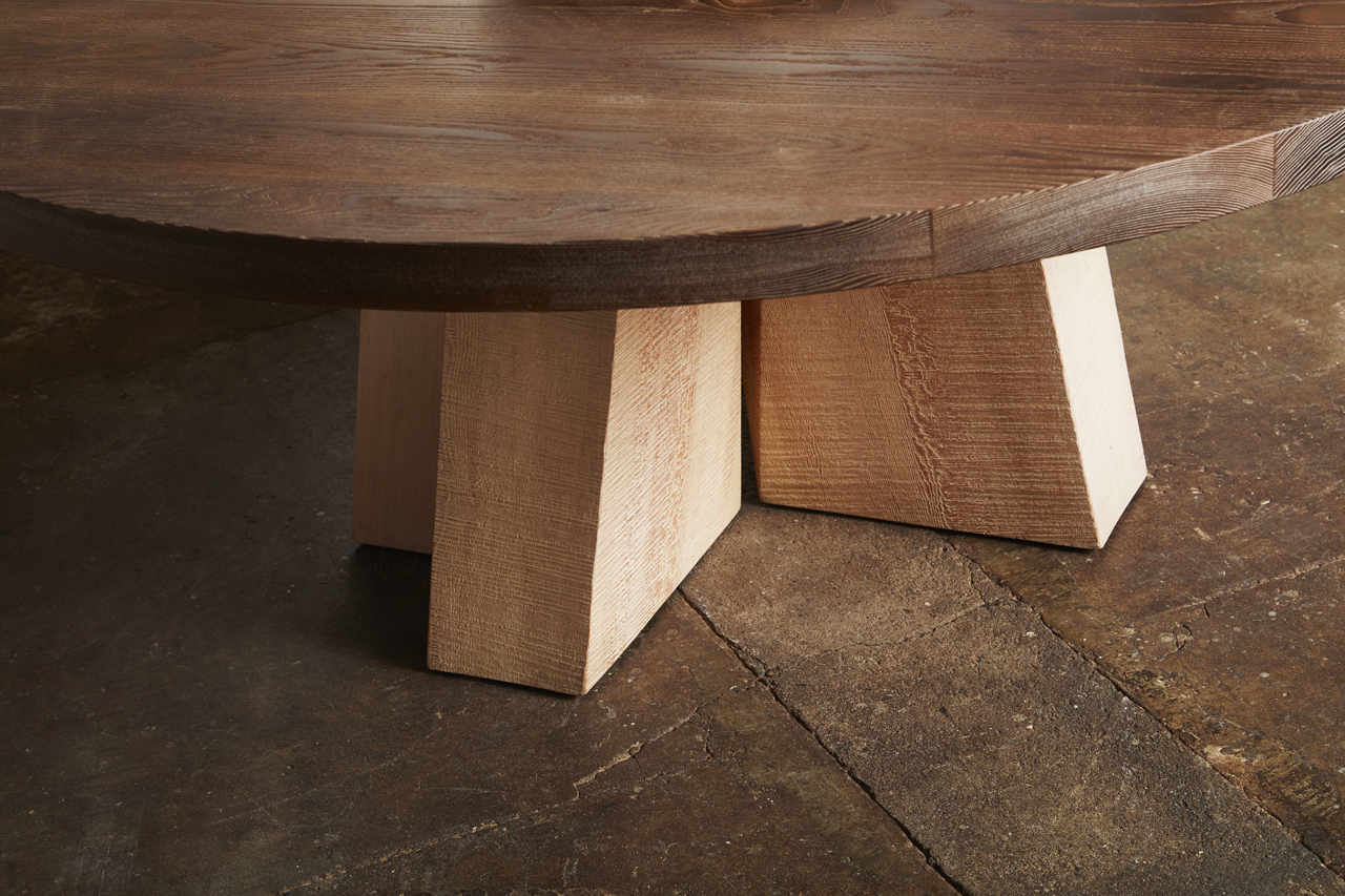 Sweep Double Pedestal Table Detail Thermalwood Top