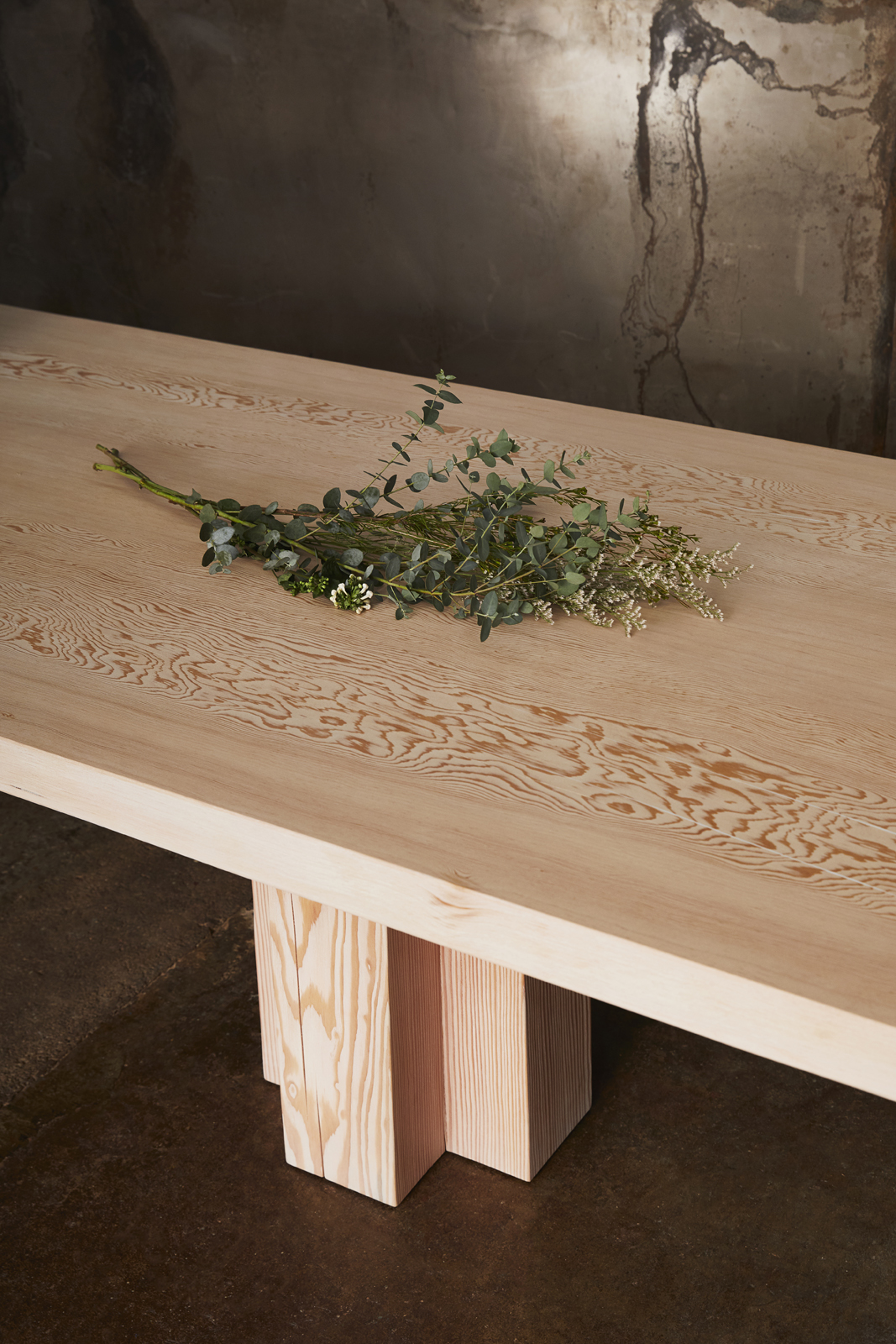 """Soma Double Dining Table 118x42"""" Fir Soft White Brushed Top in situ detail"""