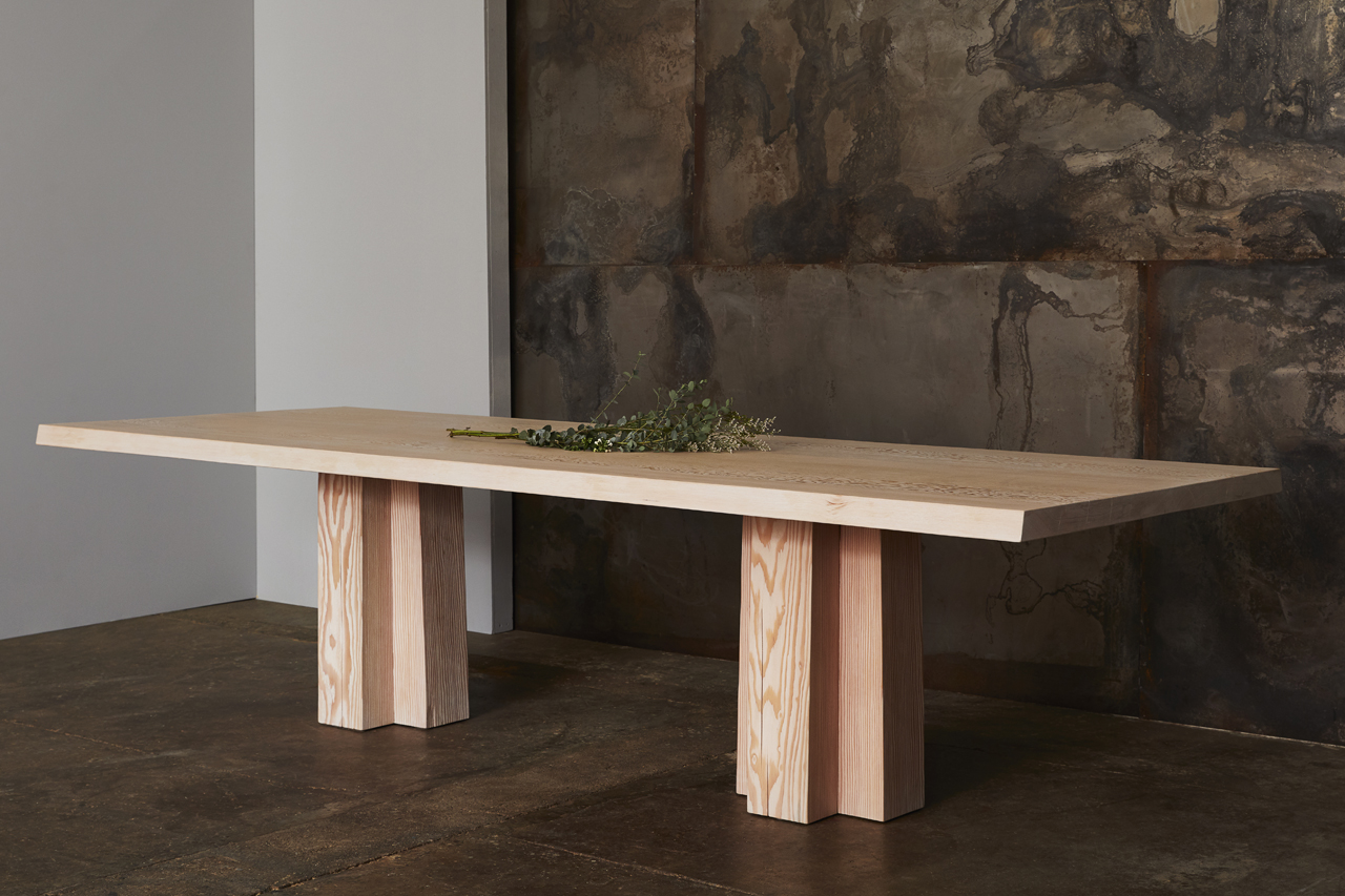 """Soma Double Dining Table 118x42"""" Fir Soft White Brushed Top in situ"""
